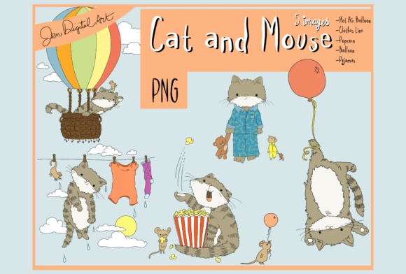 Cat and Mouse Illustrations Graphic By Jen Digital Art