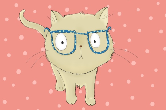 Cat with Glasses Graphic By Jen Digital Art