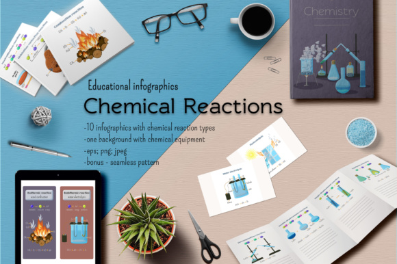 Chemical Reactions Infographics Graphic Illustrations By inkoly.art