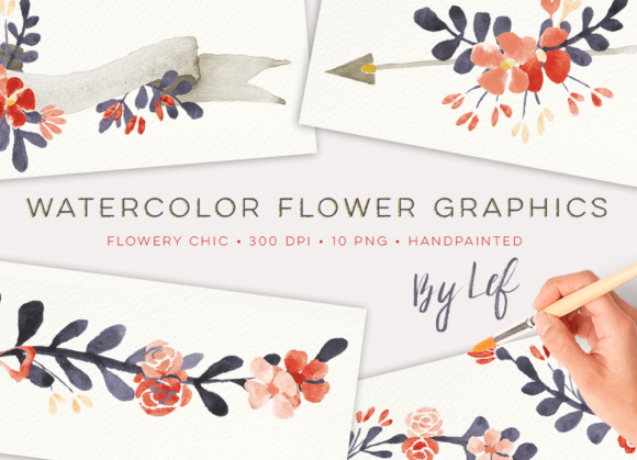 Chic Floral Watercolor Graphics Graphic Illustrations By By Lef