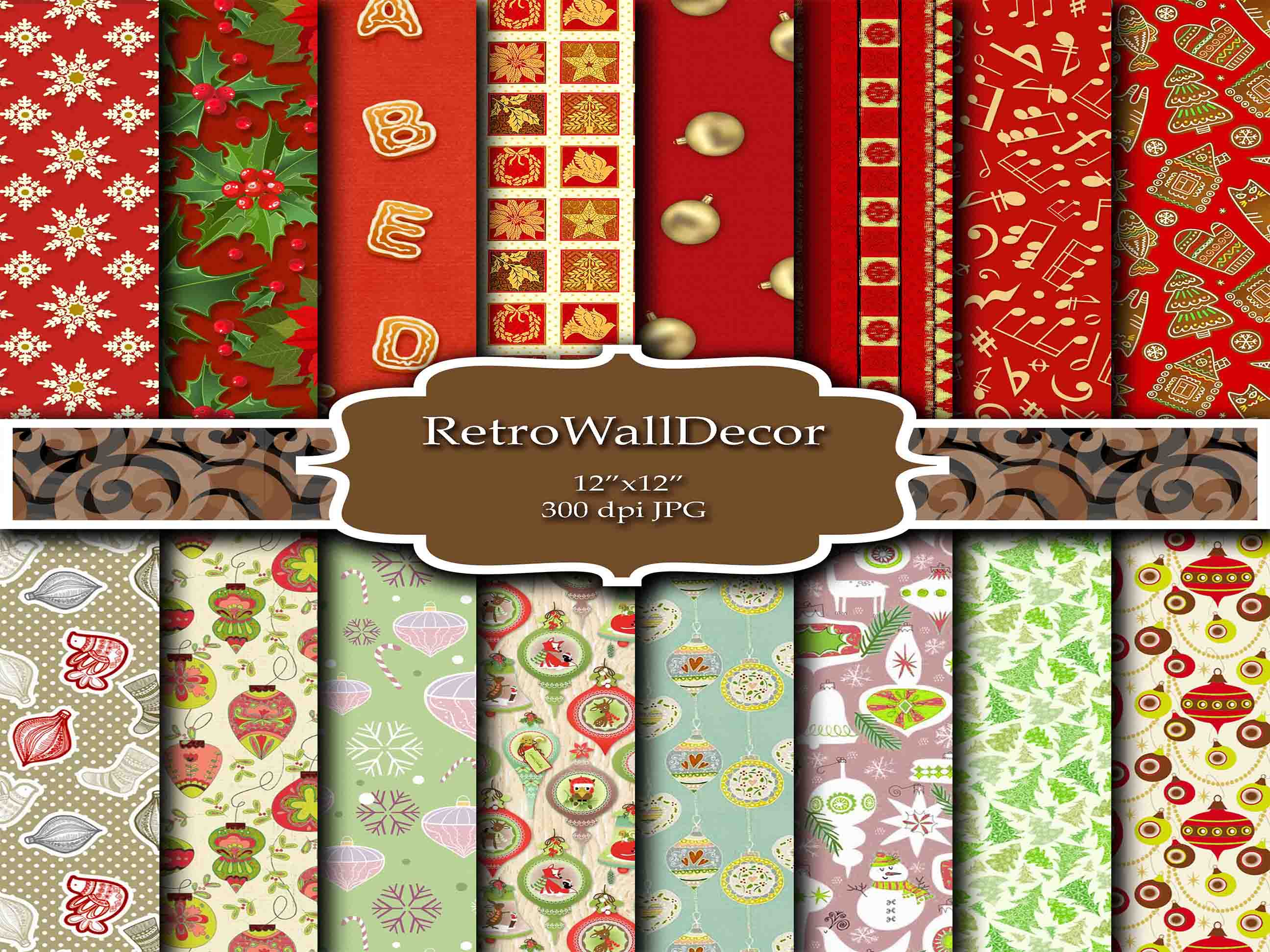 Download Free Christmas Digital Papers Graphic By Retrowalldecor Creative for Cricut Explore, Silhouette and other cutting machines.