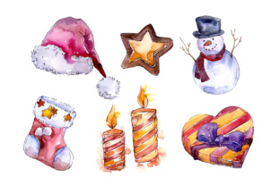 Download Free Christmas Winter Holiday Watercolor Set Graphic By Mystocks for Cricut Explore, Silhouette and other cutting machines.