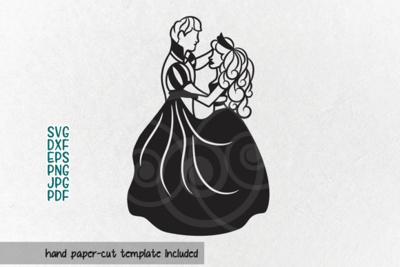 Download Free Cinderella Paper Cutting Template Bride And Groom Svg Princess for Cricut Explore, Silhouette and other cutting machines.