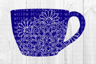 Coffee Cup Floral Mandala Graphic Crafts By WispyWillowDesigns