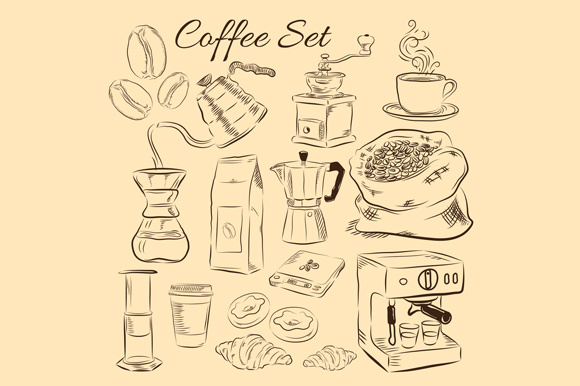 Print on Demand: Coffee Set Vector Illustrations Graphic Illustrations By pixiagraphics