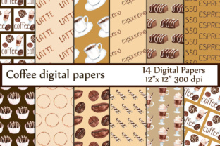 Coffee Digital Paper, COFFEE PAPERS, Coffee Clipart Coffee Bean Pattern Graphic Backgrounds By ChiliPapers