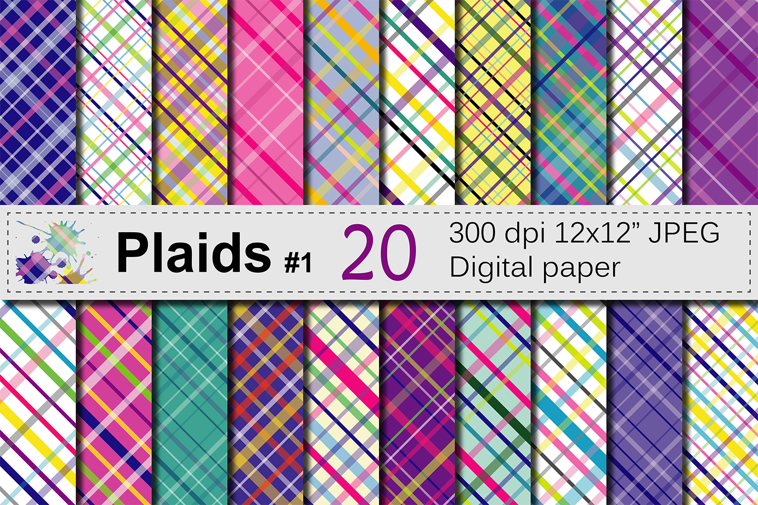 Download Free Colorful Bright Plaid Digital Paper Pack Plaid Backgrounds Multicolored Plaid Scrapbook Papers Graphic By Vr Digital Design Creative Fabrica SVG Cut Files