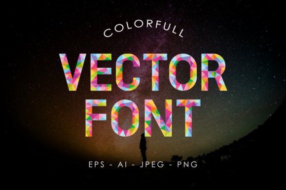 Colorful Geometric Vector Font Graphic By Arterfak Project