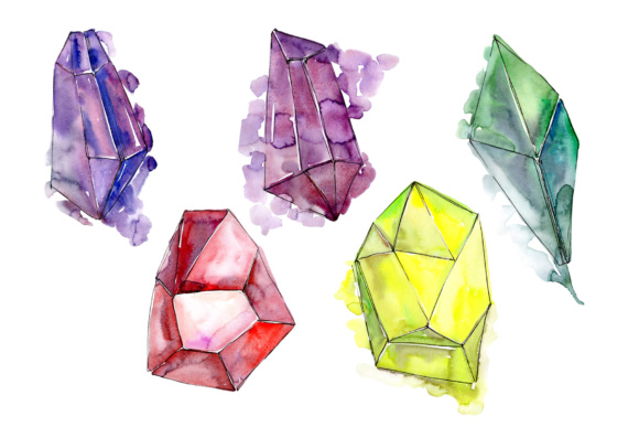 Print on Demand: Colorful Crystals Watercolor Set Graphic Illustrations By MyStocks