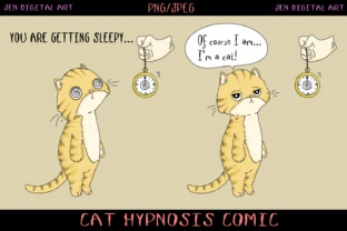 Comic Strip Design - Cat Hypnosis Graphic By Jen Digital Art