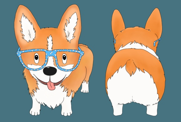 Corgi Dog with Glasses Graphic Illustrations By Jen Digital Art