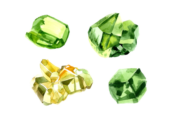 Print on Demand: Crystals of Color Emerald Watercolor Set Graphic Illustrations By MyStocks