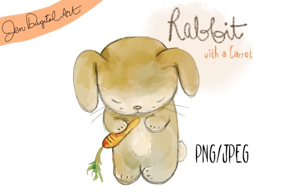 Cute Rabbit with a Carrot Grafik von Jen Digital Art