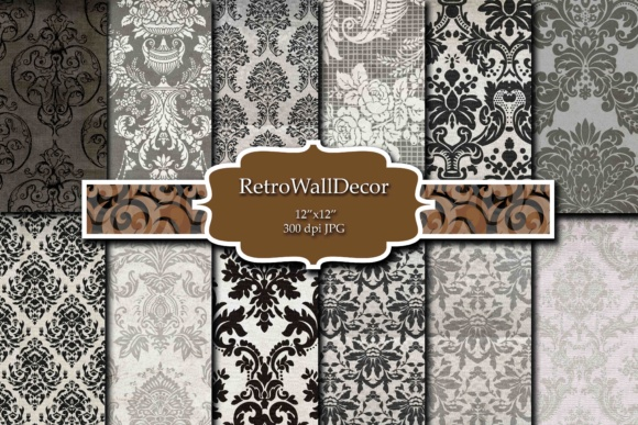 Print on Demand: Damask Digital Paper Graphic Backgrounds By retrowalldecor