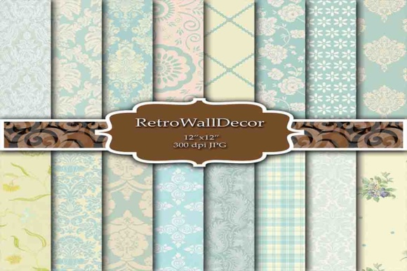 Print on Demand: Damask Digital Paper Graphic Illustrations By retrowalldecor