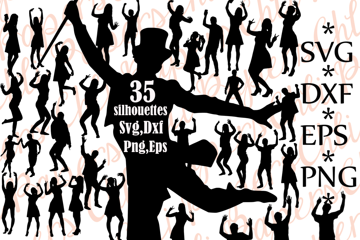 Download Free Dancing Silhouettes Graphic By Chilipapers Creative Fabrica for Cricut Explore, Silhouette and other cutting machines.