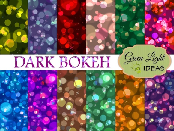 Dark Bokeh Digital Papers Graphic Backgrounds By GreenLightIdeas