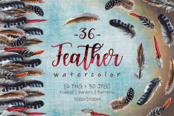 Print on Demand: Delightful Feathers Watercolor Set Graphic Illustrations By MyStocks