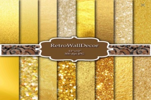 Print on Demand: Digital Gold Papers Graphic Backgrounds By retrowalldecor