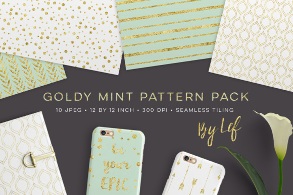 Digital Paper Pack- Seamless Gold and Mint Patterns Gráfico Moldes Por By Lef