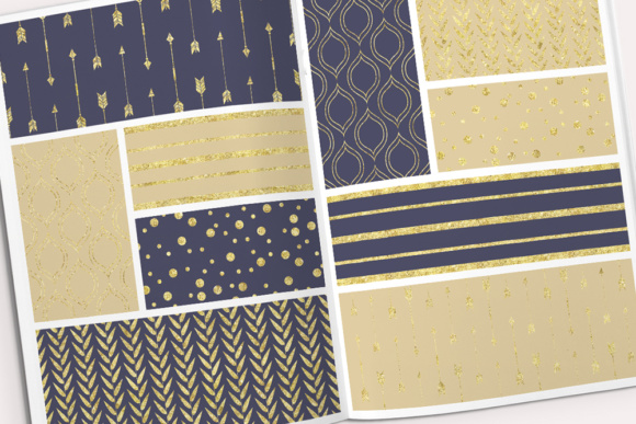 Digital Paper Pack in Dark Navy Blue and Gold Graphic Patterns By By Lef - Image 3