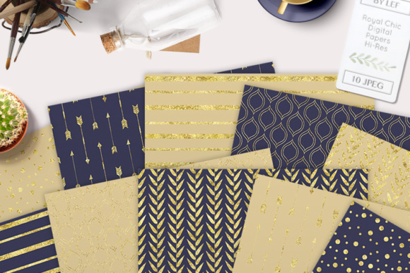 Digital Paper Pack in Dark Navy Blue and Gold Graphic Patterns By By Lef - Image 5