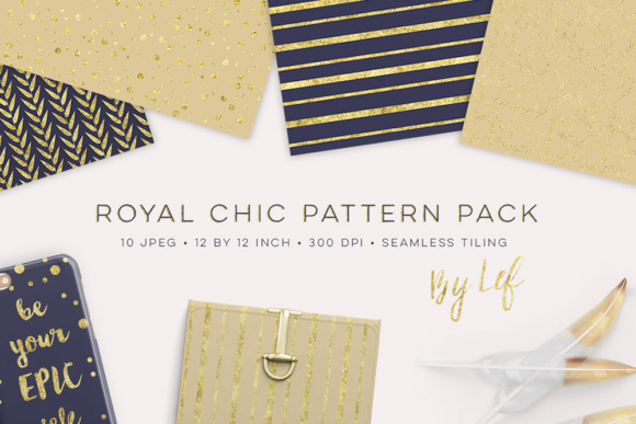Digital Paper Pack in Dark Navy Blue and Gold Graphic Patterns By By Lef