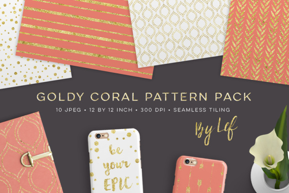 Digital Paper Pack Gold and Coral Graphic Patterns By By Lef