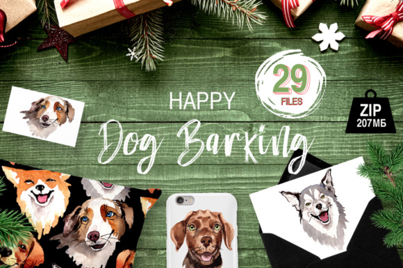 Print on Demand: Dogs Barking New Year PNG Watercolor Set Graphic Illustrations By MyStocks