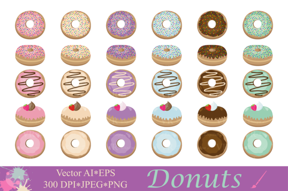 Download Free Donuts Clipart Illustrations Graphic By Vr Digital Design for Cricut Explore, Silhouette and other cutting machines.