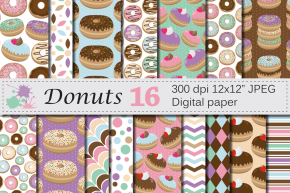 Download Free Donuts Digital Paper Pack Graphic By Vr Digital Design for Cricut Explore, Silhouette and other cutting machines.