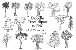 Download Free Doodle Trees Clipart Trees Clip Art Line Art Tree Silhouette for Cricut Explore, Silhouette and other cutting machines.