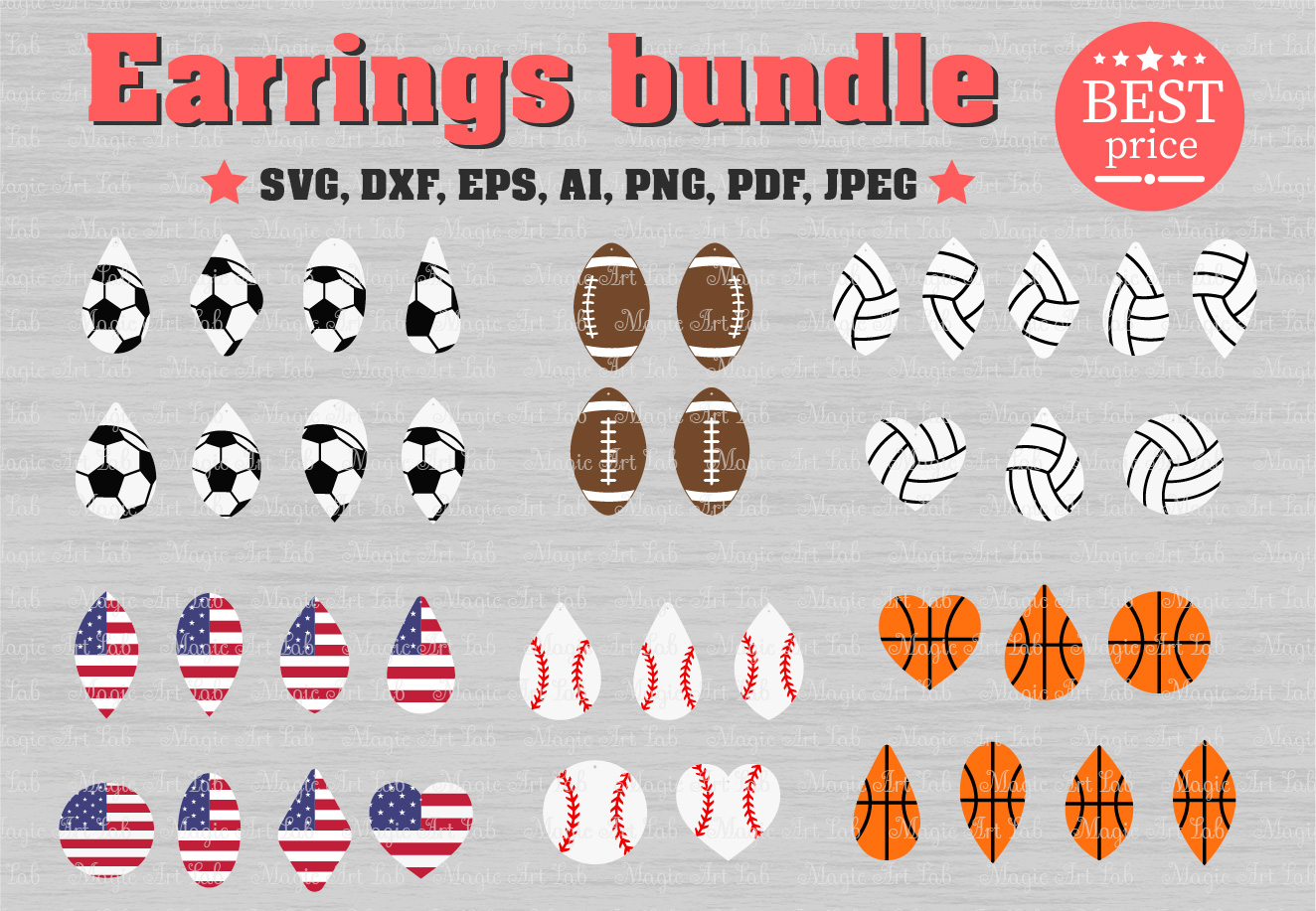 Download Free Earrings Bundle Graphic By Magicartlab Creative Fabrica for Cricut Explore, Silhouette and other cutting machines.