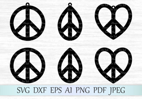 Download Free Earrings Peace Sign Svg Graphic By Magicartlab Creative Fabrica for Cricut Explore, Silhouette and other cutting machines.