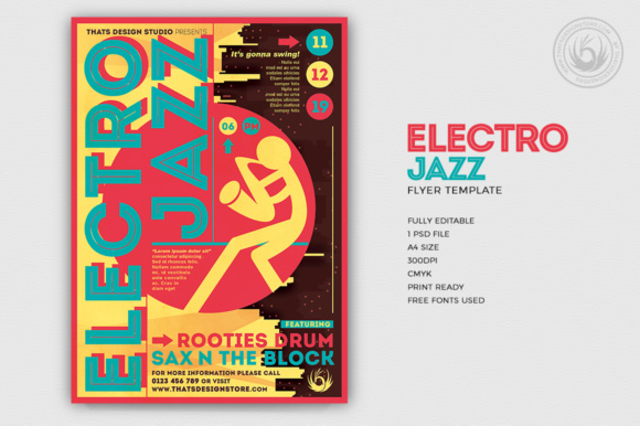Electro Jazz Flyer Template Graphic Print Templates By ThatsDesignStore
