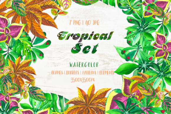 Exotic Tropical Set PNG Watercolor Graphic By MyStocks Image 1