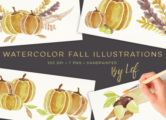 Fall Clipart Compositions Wreaths and Banners Graphics Graphic Illustrations By By Lef