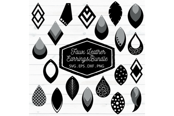 Download Free Faux Leather Earrings Set Graphic By Craft Pixel Perfect for Cricut Explore, Silhouette and other cutting machines.