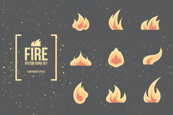 Fire and Flames Vector Icons Graphic Icons By hellokisdottir