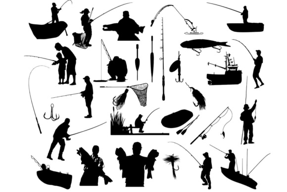 Print on Demand: Fishing Silhouette SVG DXF PNG EPS Graphic Illustrations By retrowalldecor