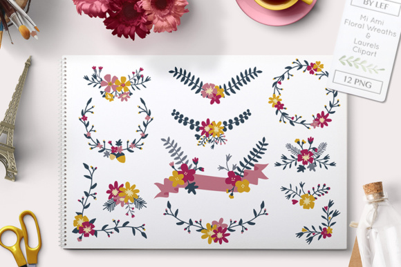 Floral Banners and Laurels Clip Art Graphic Illustrations By By Lef