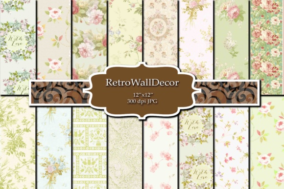 Print on Demand: Floral Digital Paper Pack Graphic Backgrounds By retrowalldecor