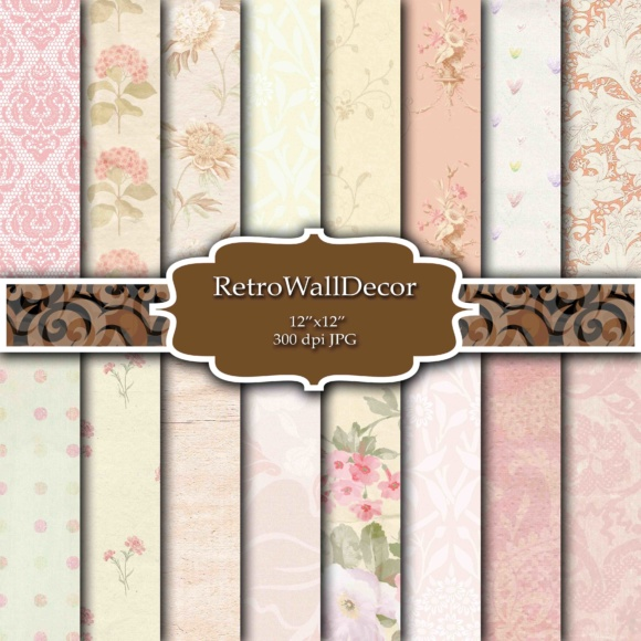 Print on Demand: Floral Wallpaper Paper Pack Graphic Backgrounds By retrowalldecor