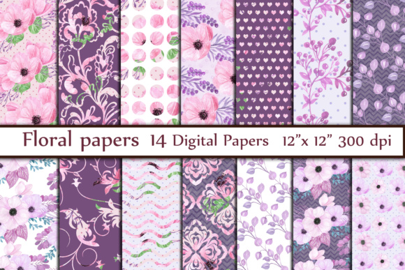 Floral Digital Paper Graphic Backgrounds By ChiliPapers