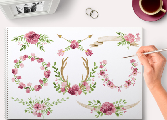 Floral Romantic Graphics Set with Wreaths and Horns