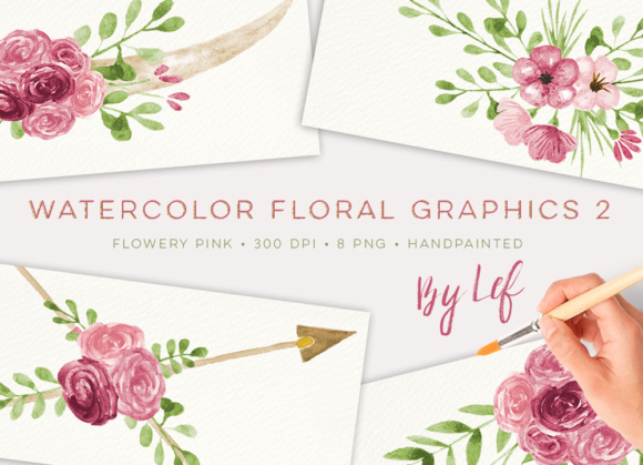 Floral Romantic Graphics Set with Wreaths and Horns Graphic Illustrations By By Lef