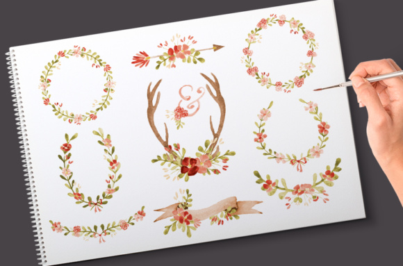 Floral Watercolor Wedding Clipart. Botanical and Flower Graphics Including Banners