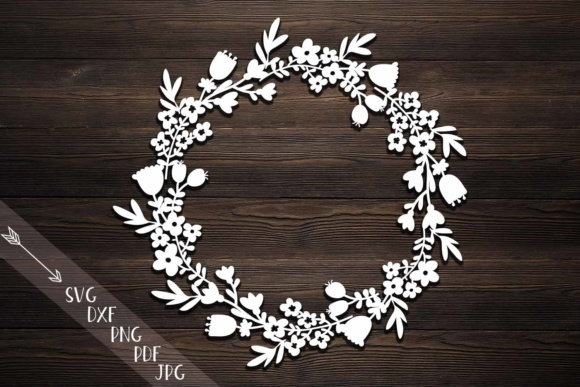 flower wreath paper cut svg monogram flowers papercutting template