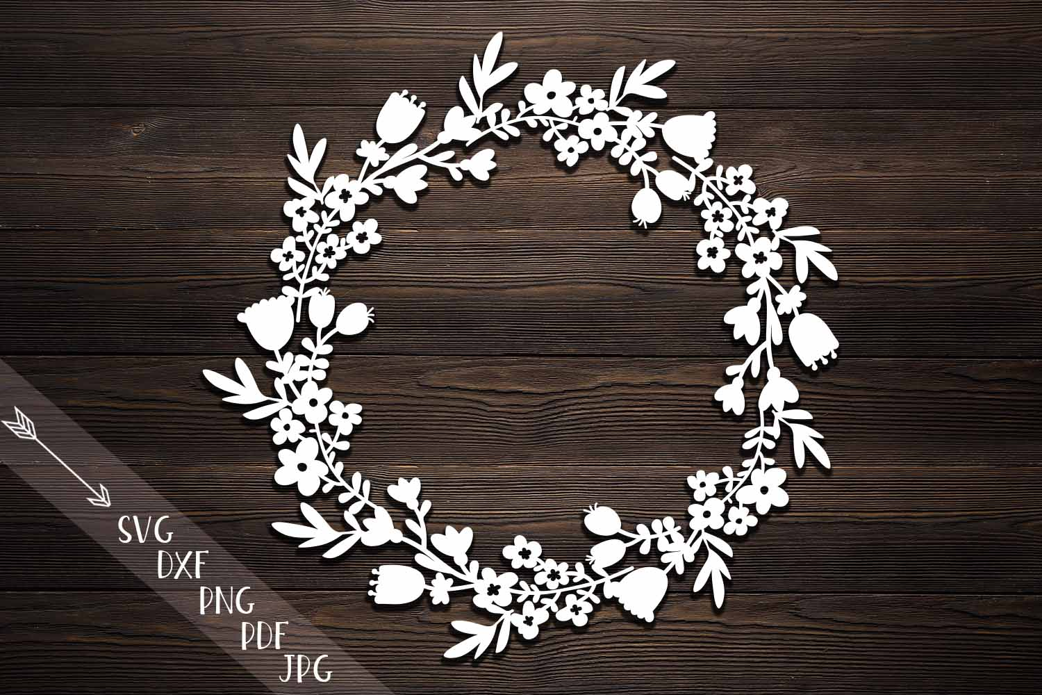 Download Free Flower Wreath Paper Cut Monogram Flowers Papercutting Template for Cricut Explore, Silhouette and other cutting machines.