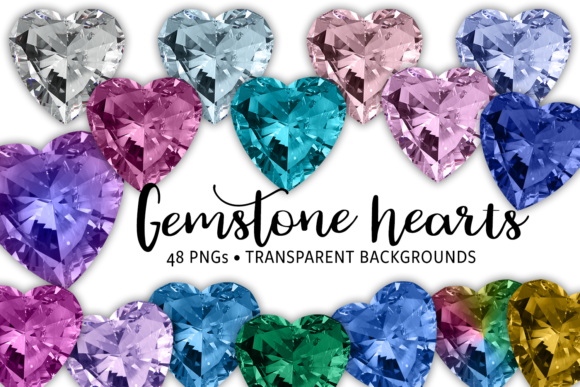 Print on Demand: Gemstone Hearts Graphic Objects By JulieCampbellDesigns